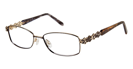 Jessica McClintock 055 eyeglasses are designed for women featuring spring hinges and skull temples. The Jessica McClintock 055 eyeglasses model is made of metal and manufactured in China.