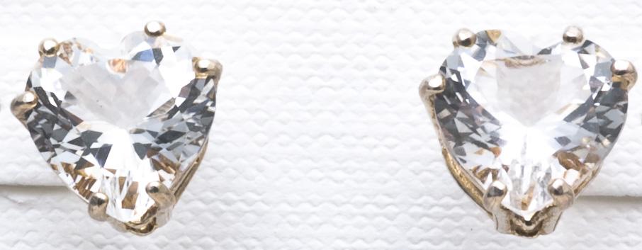 Earings, 10mm Heart Crystals, Clear Quartz