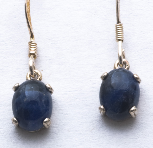 Earings, 8x 6 Cabouchon Crystals, Blue Sodalite