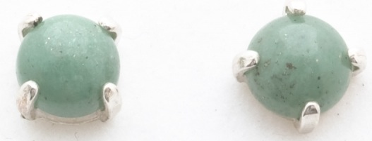 Earings, 6mm Round Cabouchon Crystals, Green Aventurine