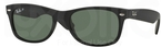 Ray Ban RB2132 New Wayfarer Rubber Black w/ Polar Green Lenses