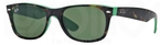 Ray Ban RB2132 New Wayfarer Top Havana on Green w/ Green Lenses
