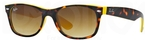 Ray Ban RB2132 New Wayfarer Top Havana on Yellow w/ Brown Gradient Lenses