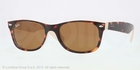 Ray Ban RB2132 New Wayfarer Top Havana on Beige with Crystal Brown Lenses