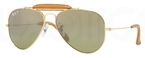 Ray Ban RB3422Q Arista Gold/Light Brown with Polarized Crystal Green/Silver Mirror Gradient Lenses