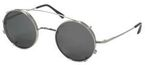 Dolomiti Eyewear Round Sunclip Shiny Silver with Grey Polarized Lenses